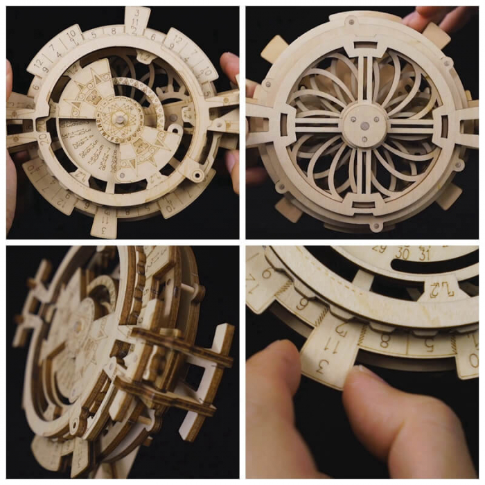 Calendar perpetuum - Puzzle mecanic 3D din lemn 4