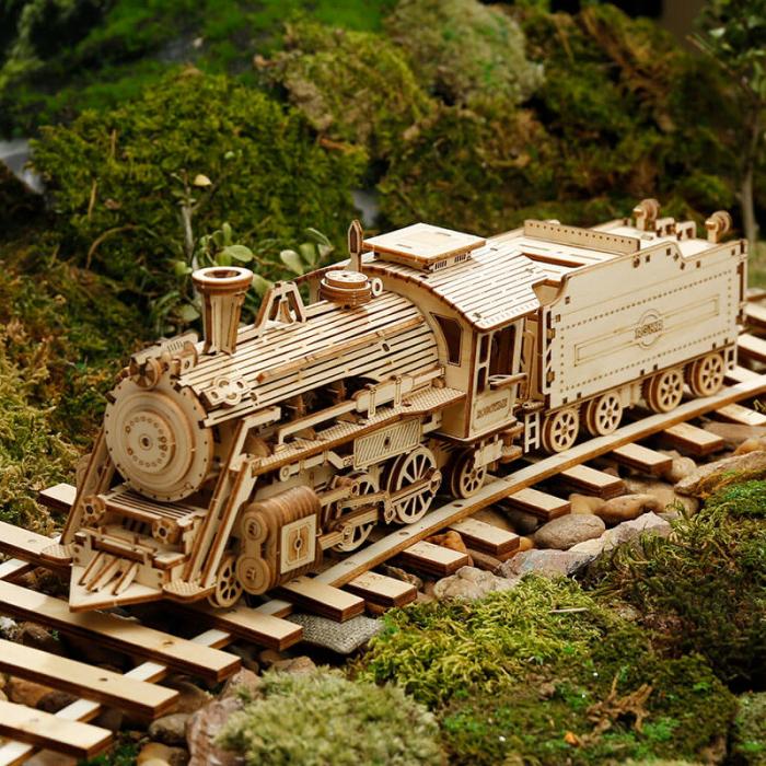 Express locomotiva cu aburi puzzle 3D lemn 0