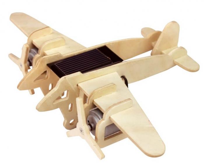 Avion bombardier model solar puzzle 3D lemn 0