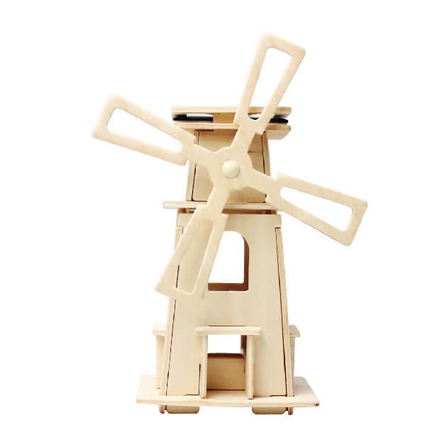 Moara de vant solara puzzle 3D lemn 0