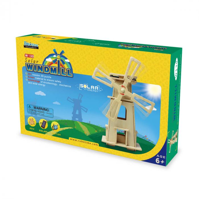 Moara de vant solara puzzle 3D lemn 1