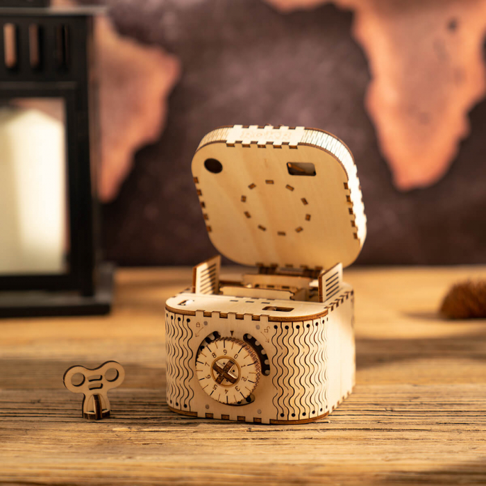 caseta de bijuterii puzzle mecanic 3D din lemn 4