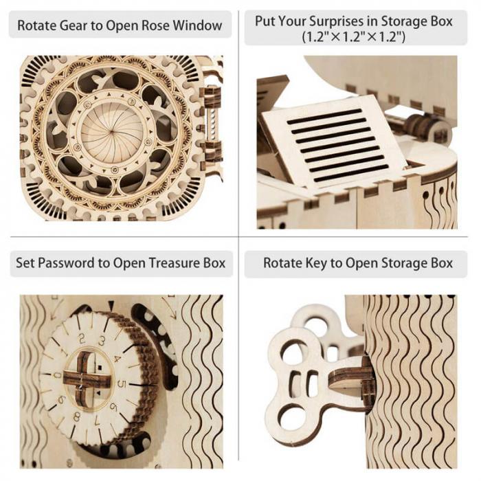 caseta de bijuterii puzzle mecanic 3D din lemn 8