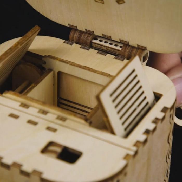 caseta de bijuterii puzzle mecanic 3D din lemn 1