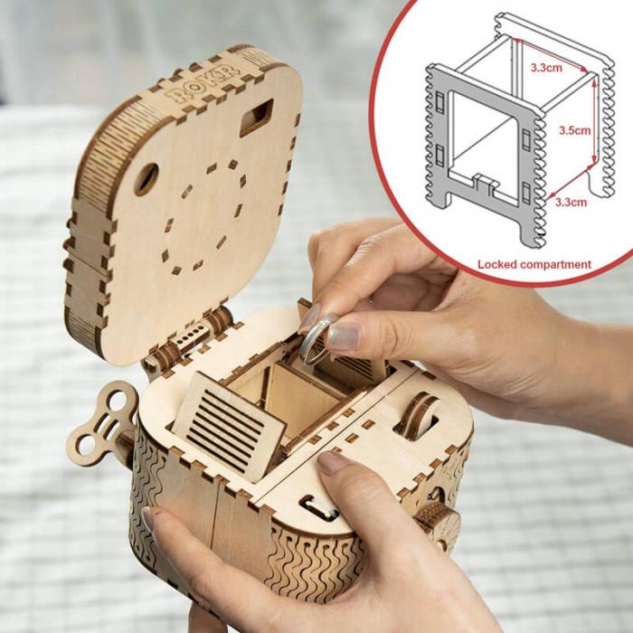 caseta de bijuterii puzzle mecanic 3D din lemn 7