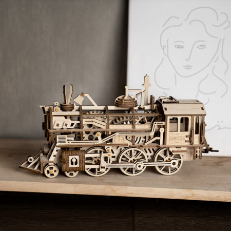 Locomotivă propulsată - Puzzle mecanic 3D din lemn0