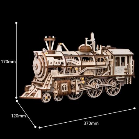 Locomotivă propulsată - Puzzle mecanic 3D din lemn1