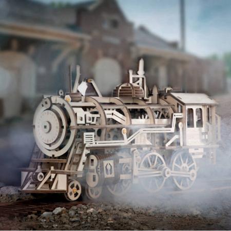 Locomotivă propulsată - Puzzle mecanic 3D din lemn2