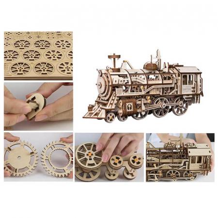 Locomotivă propulsată - Puzzle mecanic 3D din lemn3