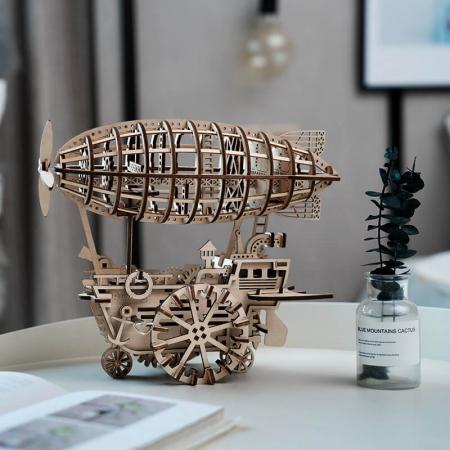Dirijabil Zepelin - Puzzle mecanic 3D din lemn7