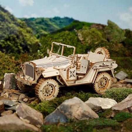 Jeep militar - Puzzle 3D din lemn2