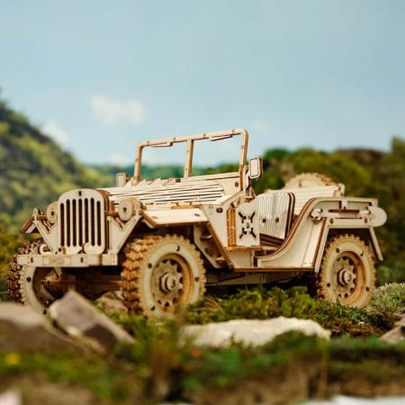 Jeep militar - Puzzle 3D din lemn0