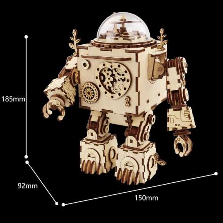 Robot muzical Orpheus - Puzzle mecanic 3D din lemn2