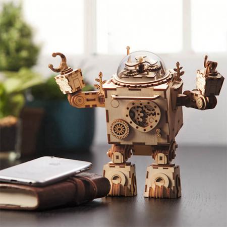 Robot muzical Orpheus - Puzzle mecanic 3D din lemn7
