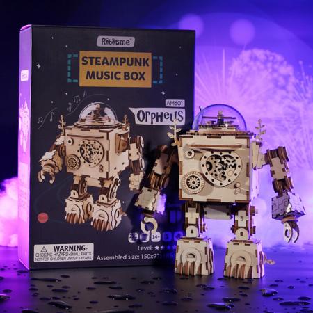 Robot muzical Orpheus - Puzzle mecanic 3D din lemn5