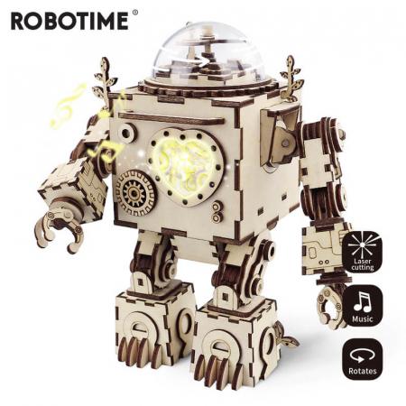 Robot muzical Orpheus - Puzzle mecanic 3D din lemn0