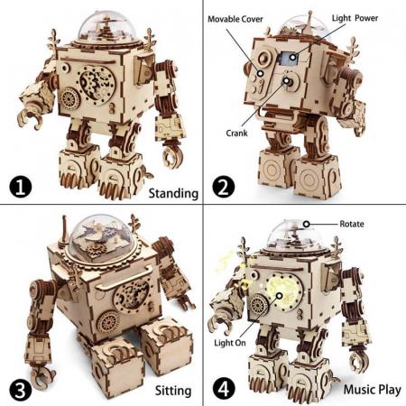 Robot muzical Orpheus - Puzzle mecanic 3D din lemn3