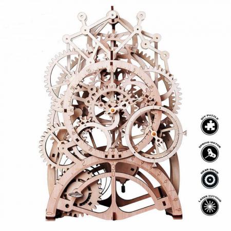 Ceas cu pendul - Puzzle mecanic 3D din lemn4