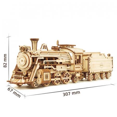 Express Locomotiva cu aburi - Puzzle 3D din lemn1