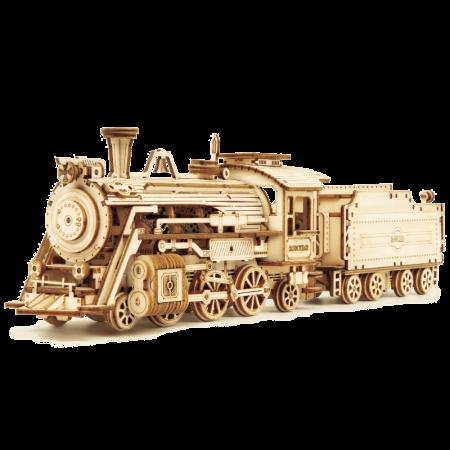 Express Locomotiva cu aburi - Puzzle 3D din lemn2