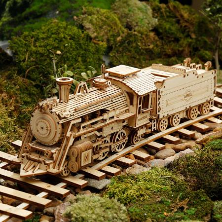 Express Locomotiva cu aburi - Puzzle 3D din lemn0