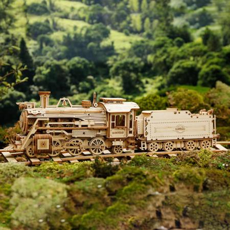 Express Locomotiva cu aburi - Puzzle 3D din lemn3