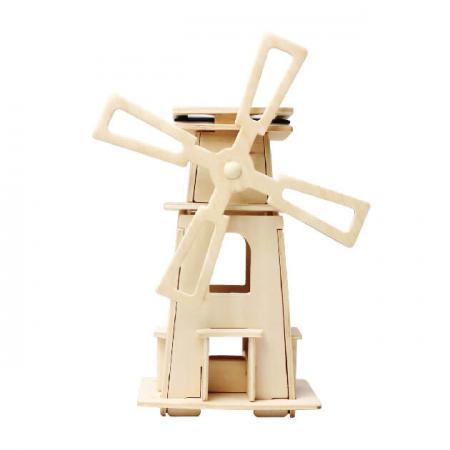 Moară de vânt Solară - Puzzle mecanic 3D din lemn0