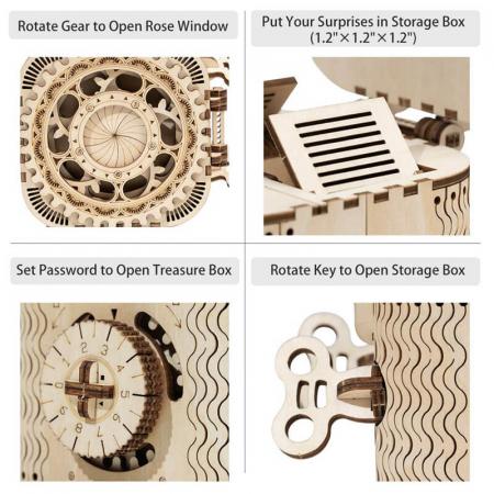 Casetă de bijuterii - Puzzle mecanic 3D din lemn8