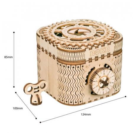 Casetă de bijuterii - Puzzle mecanic 3D din lemn5