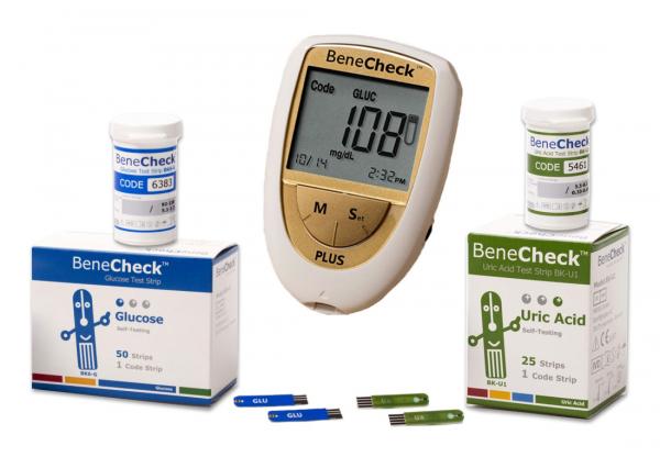 Pachet promotional: analizor Benecheck Gold Plus + teste glicemie + teste acid uric [0]