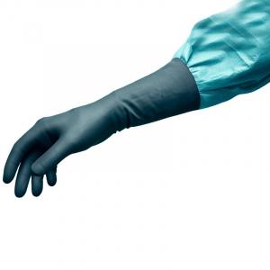 Manusi chirurgicale Peha-shield latexfree nepudrate, negre, cu protectie Rx0