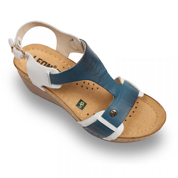 Sandale Leon 1010 alb cu albastru - dama 0
