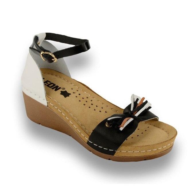 Sandale Leon 1025 negru cu alb - dama [0]