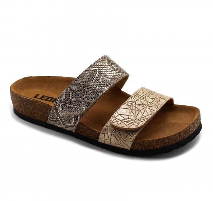 Papuci cu talpa ortopedica Leon 4000 auriu cu imprimeu de sarpe - dama 0