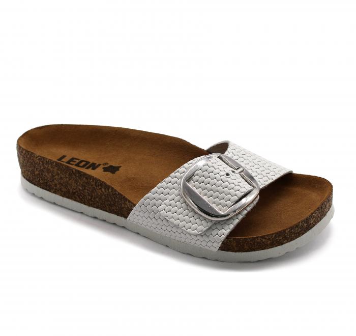 Papuci cu talpa ortopedica Leon 4020 alb - dama [0]