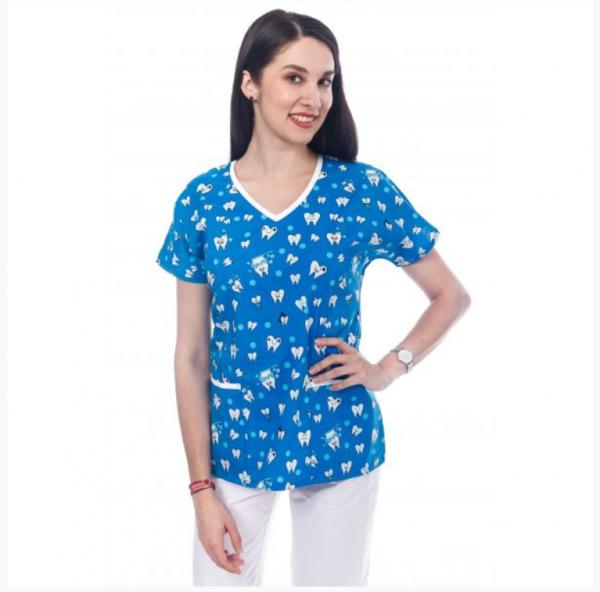 Bluza medicala albastra cu dintisori 0