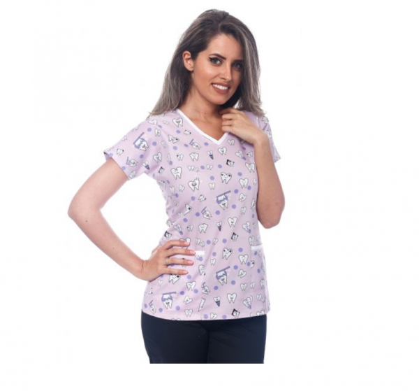 Bluza medicala lila cu dintisori 0