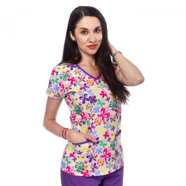 Bluza medicala lila cu fluturasi 0