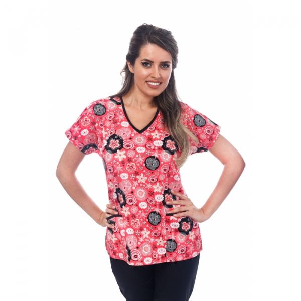 Bluza medicala portocalie cu floricele 0