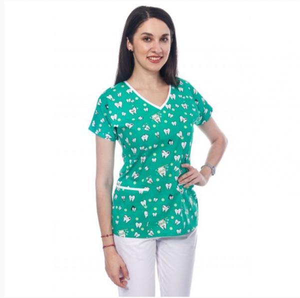 Bluza medicala verde cu dintisori 0