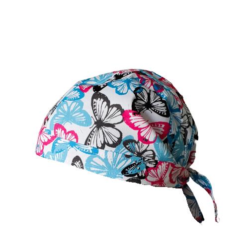 Boneta alba cu fluturasi blue-roz 0