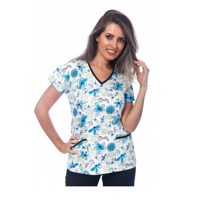 Bluza medicala alba cu floricele [0]
