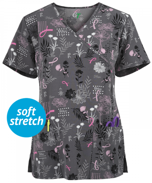 "Bluza medicala ""Green Town BC Floral Hope"" (GT507BCF) 0"