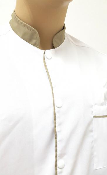 Halat cu guler tip tunica cu paspol khaki 1