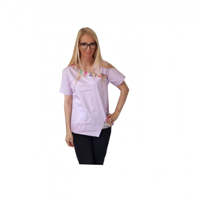 Bluza medicala lila cu paspol fluturasi 0