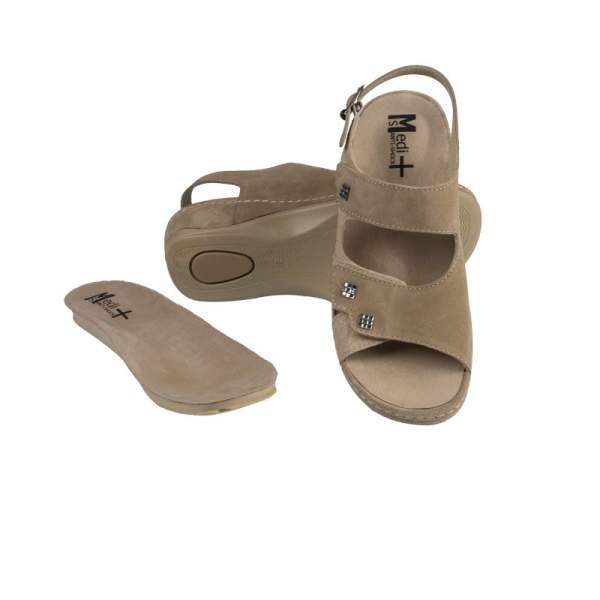 Sandale Medi+ 766 beige - dama - cu taloneta detasabila 0