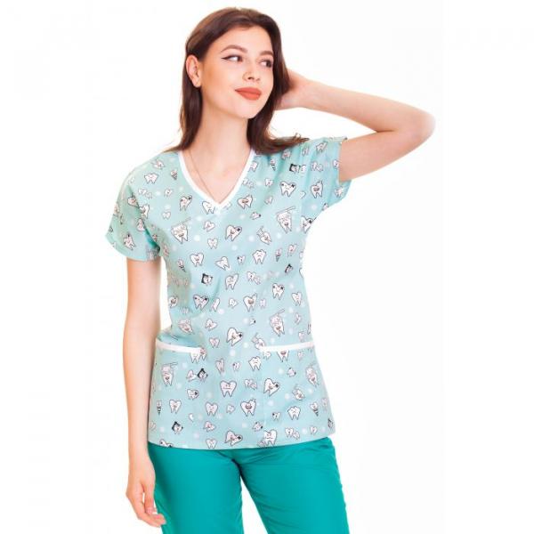 Bluza medicala fistic cu dintisori 0