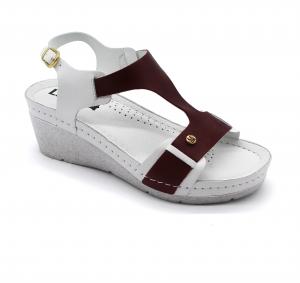 Sandale Leon 1010 alb cu bordo - dama0