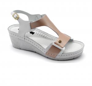 Sandale Leon 1010 alb cu somon - dama0