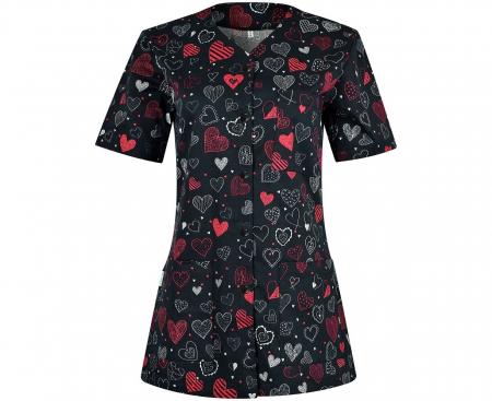 Halat medical negru cu inimioare rosii [0]